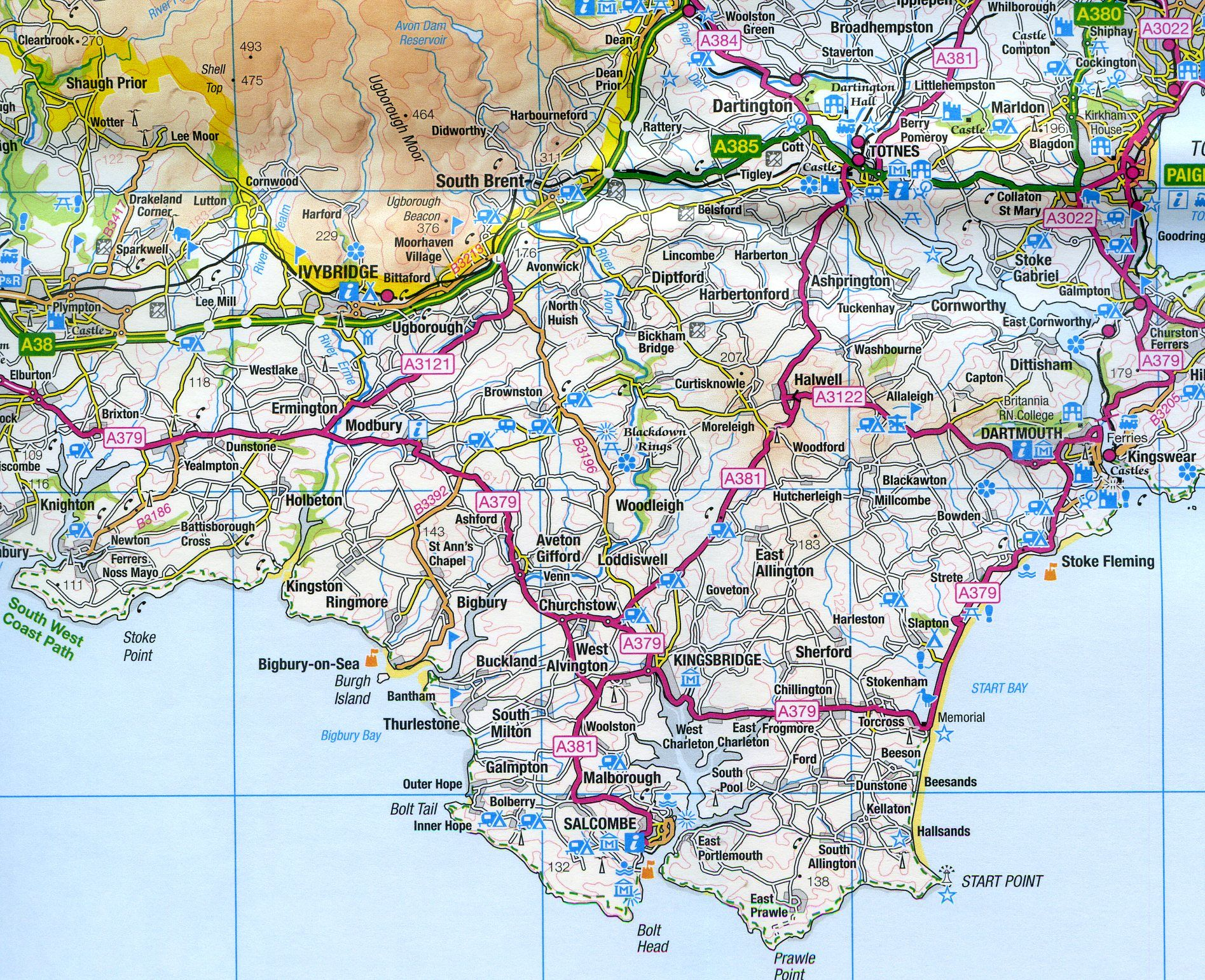 Detailed Map Of Southern France.Ordnance Survey Road Map 7 South West England